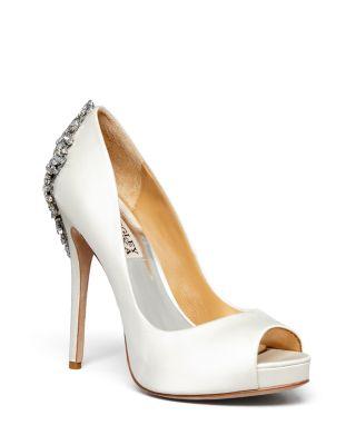 Kiara Embellished Peep-Toe Evening Pumps Women'S Shoes, White