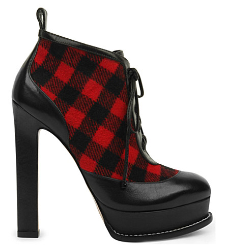 SOPHIA WEBSTER Katy Leather Tartan Heeled Ankle Boots in Blk/Red