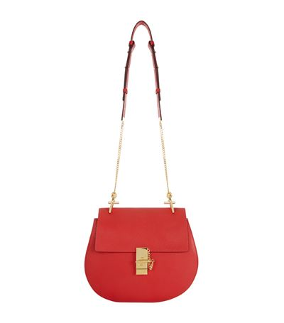 Mini Drew Grained Nappa Leather Bag, Plaid Red
