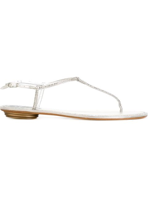 RENÉ CAOVILLA 10Mm Swarovski Satin & Leather Flats, White, Metallic