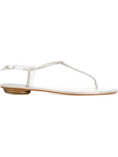 RENÉ CAOVILLA 10Mm Swarovski Satin & Leather Flats, White in Metallic