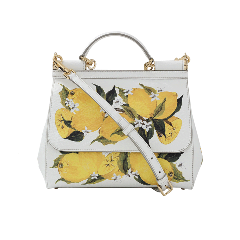 7060f8de03d7 DOLCE   GABBANA SICILY SMALL LEMON-PRINT TEXTURED LEATHER TOP-HANDLE  SATCHEL