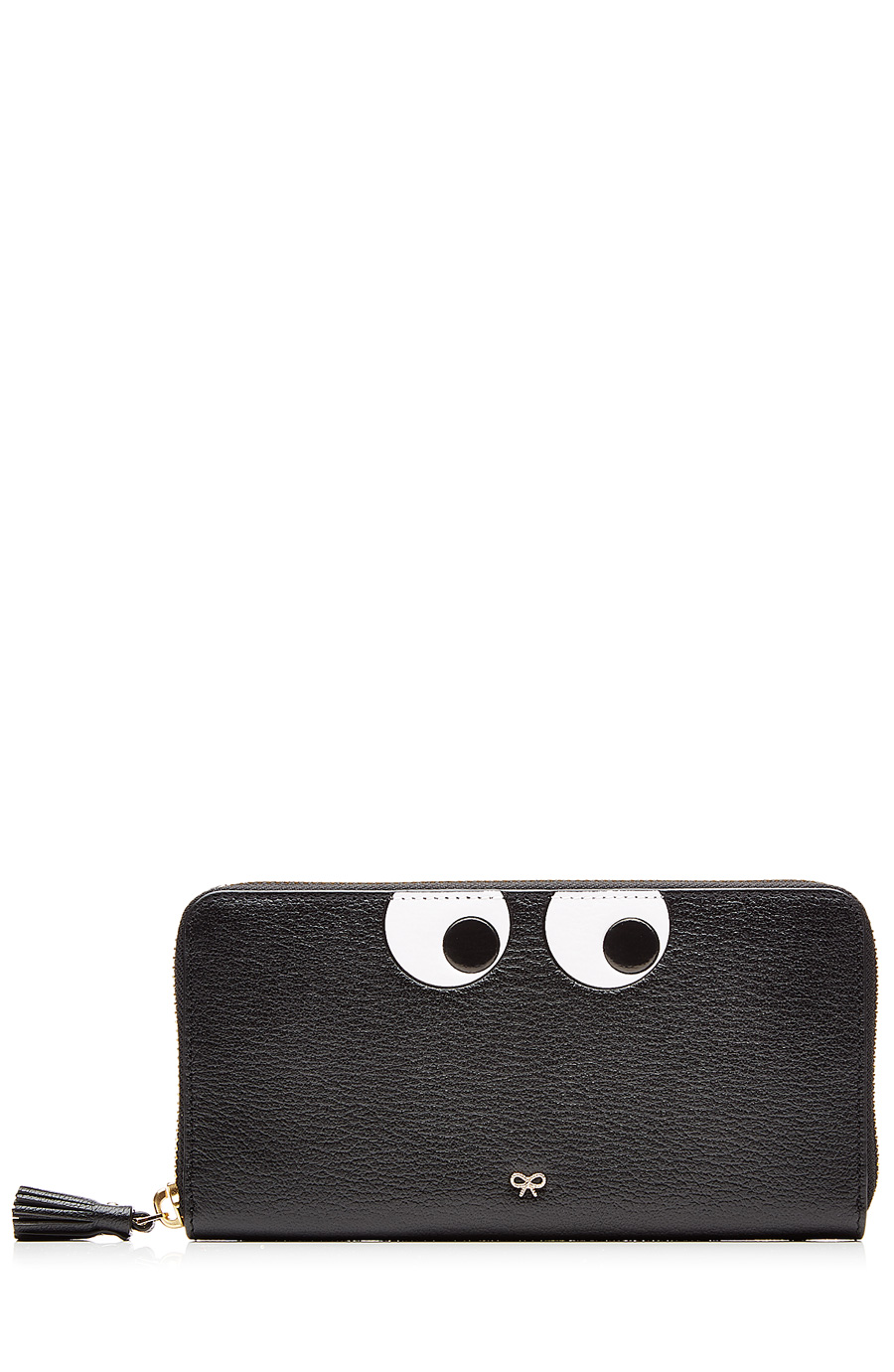 ANYA HINDMARCH Eyes Embossed Leather Zip Around Wallet, Black