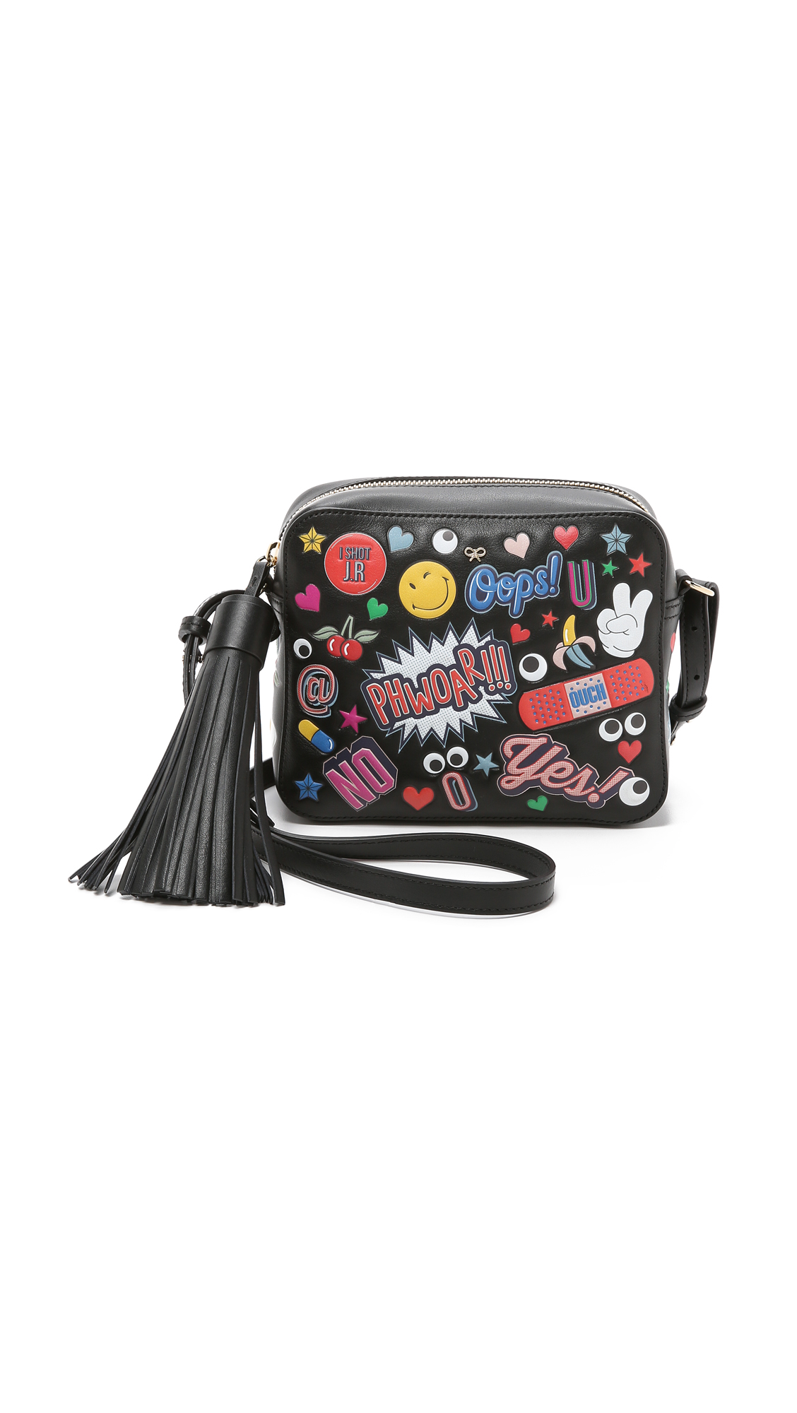 ANYA HINDMARCH Crossbody All Over Wink Stickers Bag In Black Circus Leather