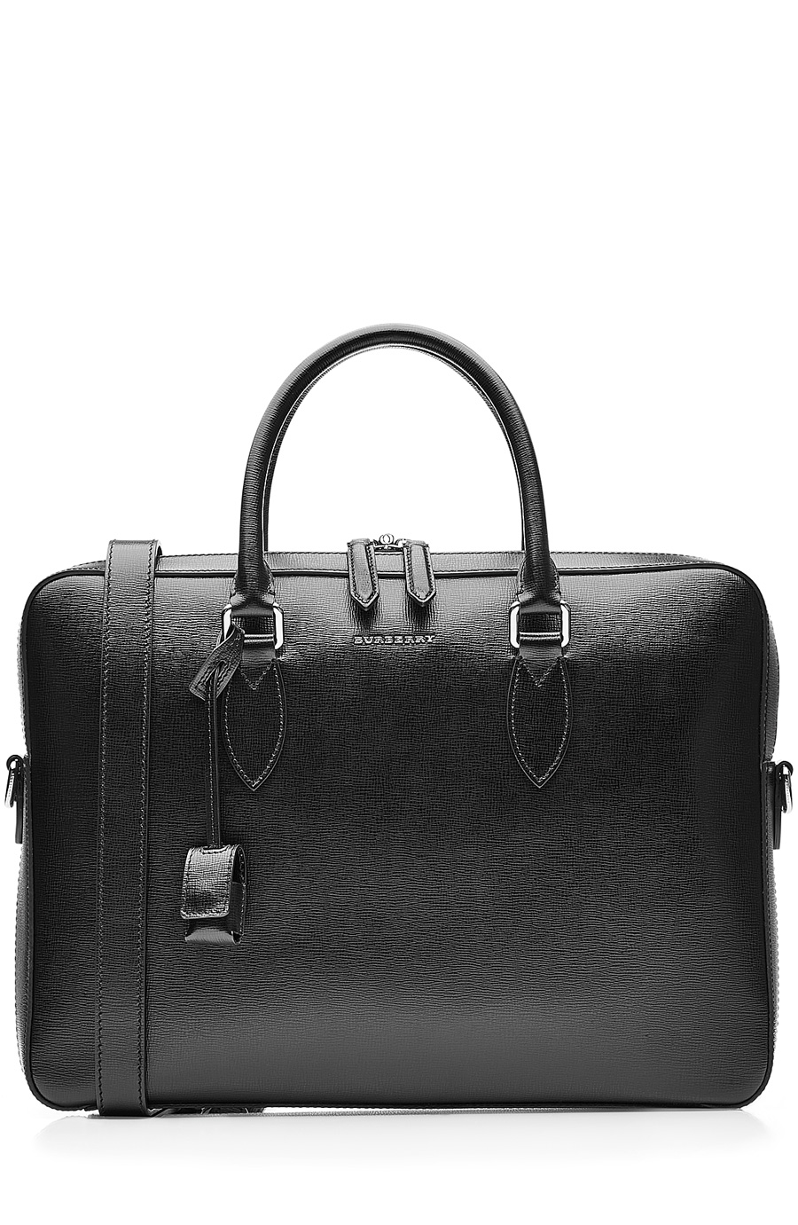 'New London' Calfskin Leather Briefcase - Black