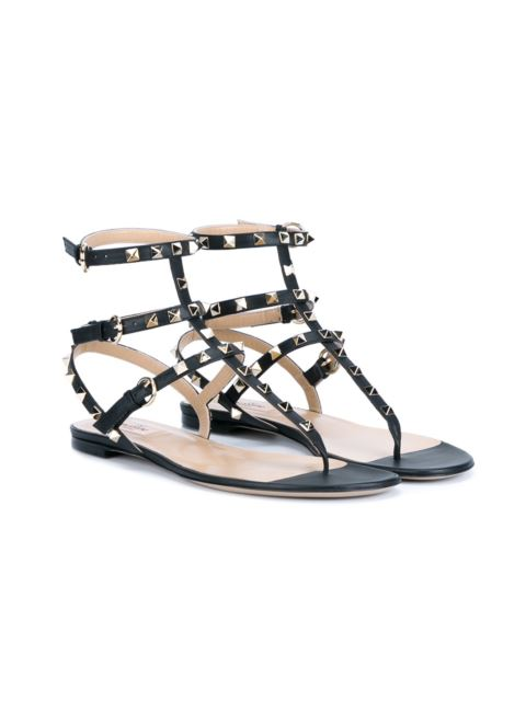 Woman Rockstud Leather Sandals Black