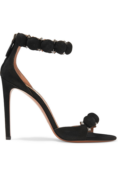 Studded Stiletto-Heel Suede Sandals, Cblack