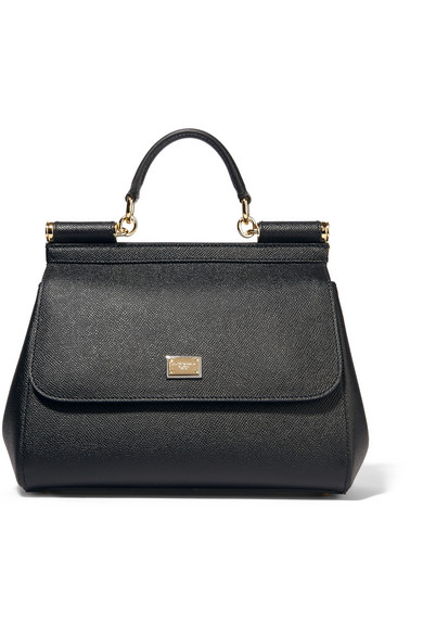 Black Big Sicily Dauphine Leather Top Handle Bag