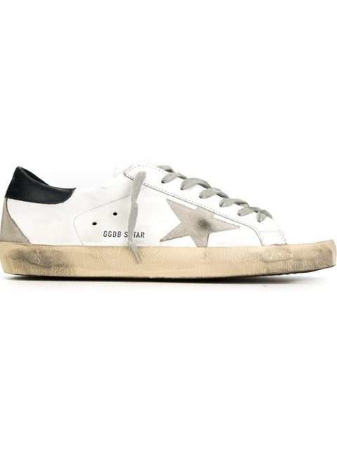 GOLDEN GOOSE Superstar Distressed Leather And Suede Sneakers, White