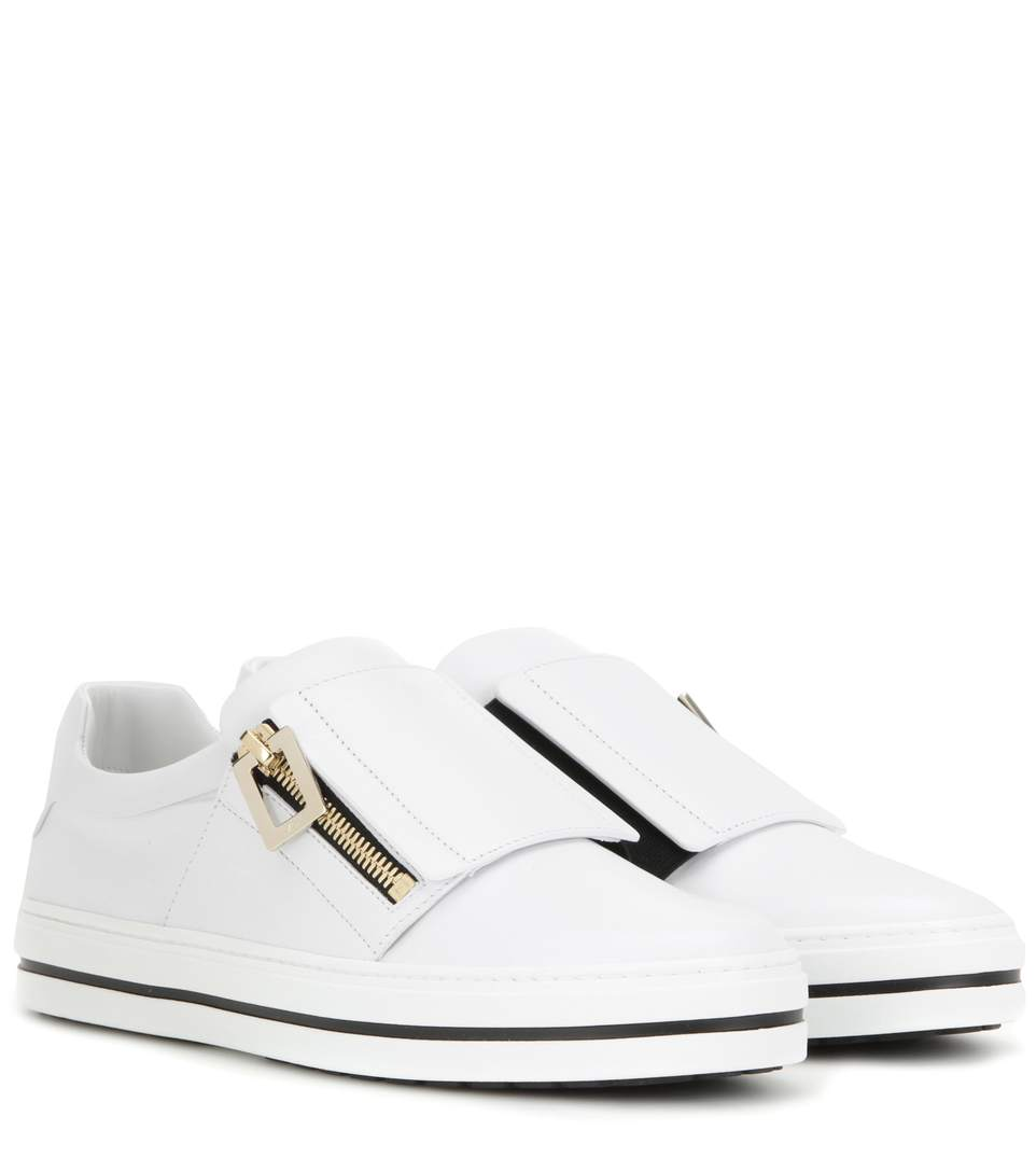 25Mm Sneaky Viv Zip-Up Leather Sneakers, White
