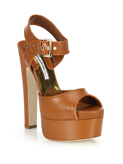 BRIAN ATWOOD Karin Leather Platform Sandals in Brown