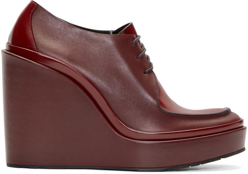 JIL SANDER Platform Leather Derby Shoes in Dark Red