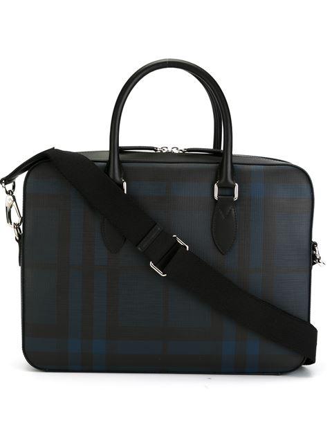 BURBERRY Mittelgroße Aktentasche In London Check Mit Lederbesatz, Blue