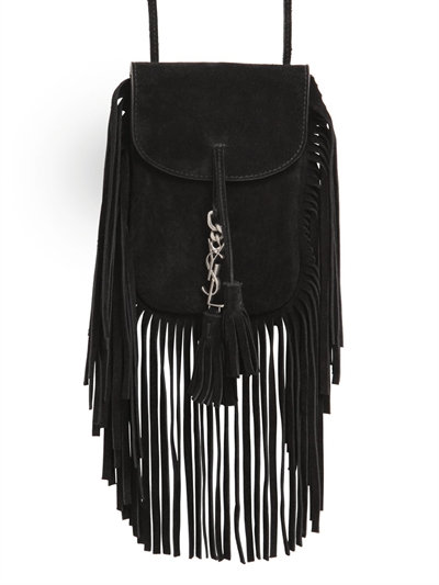 37a194bbca Saint Laurent Anita Mini Flat Suede Shoulder Bag With Fringe