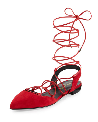 Saint Laurent Suede Pointed-Toe Flats Cheap Buy Outlet Discount Authentic Online Sale Online Discount Official Site TzZqfd