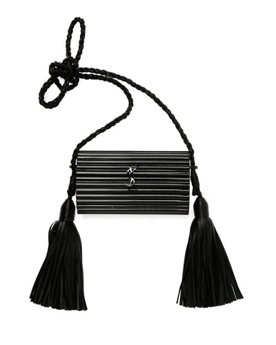 Women'S Leather Tasselled Plexiglass Minaudière Bag In Black, Shiny Black/ Noir