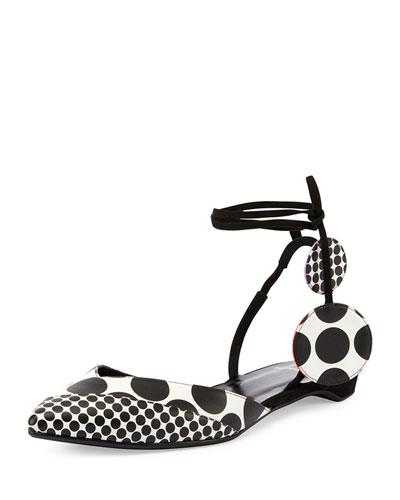 Pierre Hardy Polka Dot Ankle Strap Flats