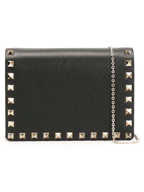 Rockstud Black Leather Clutch