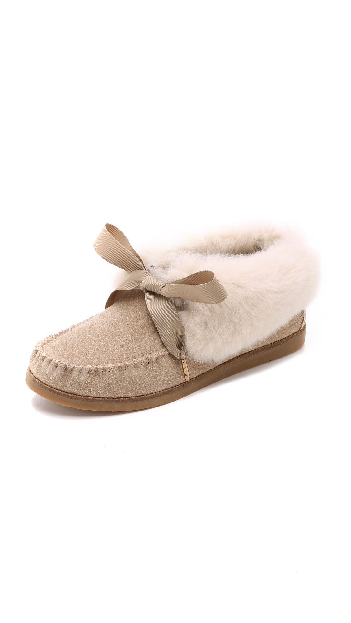 free shipping best store to get best wholesale for sale Tory Burch Aberdeen Fur-Trimmed Moccasins outlet footlocker clearance 2015 new QqswAcej0