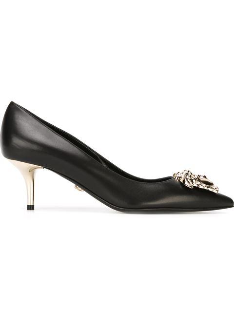 Black Leather Medusa Heels