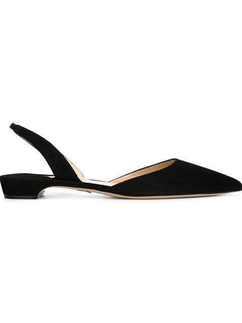 Rhea Suede Slingback Flats - 900 Black Size 9.5