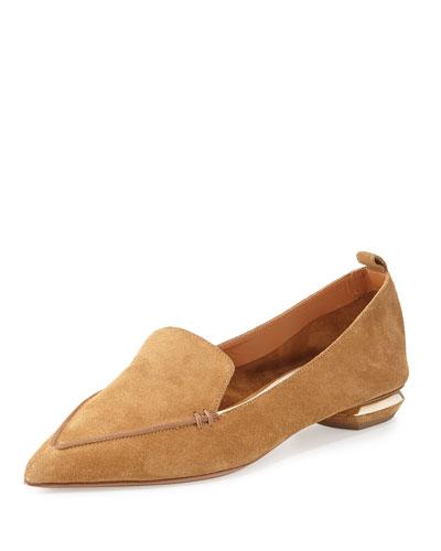 'Beya' Metal Heel Suede Skimmer Loafers, Brown
