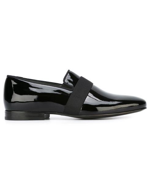 LANVIN Patent Leather Venetian Loafers, Black