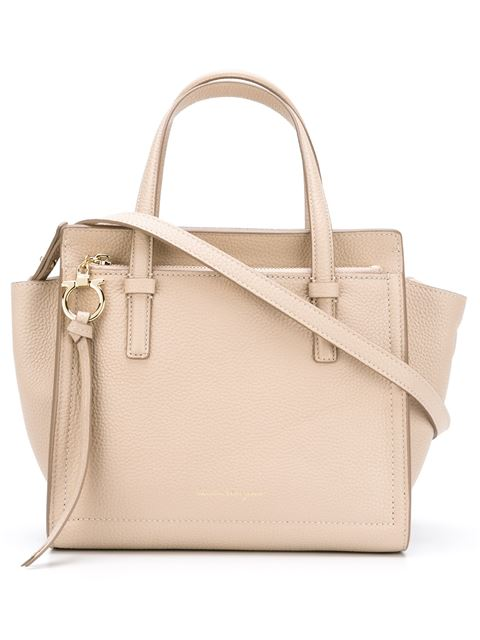 Amy Large Pebbled-Leather Tote in Neutrals