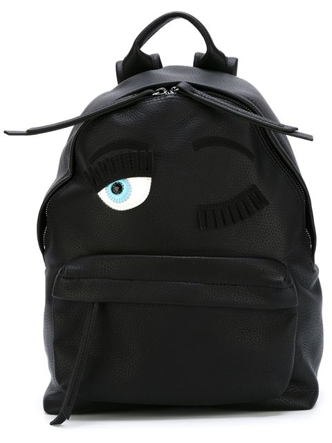 Flirting Eye Faux-Leather Small Backpack, Black