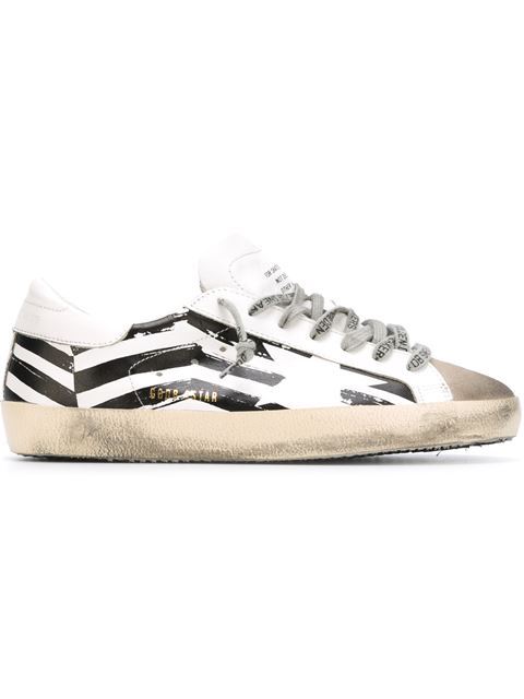 GOLDEN GOOSE Super Star Zigzag Leather Trainers, White
