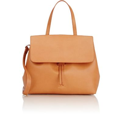 Vegetable-Tanned Leather Mini Lady Bag, Camel