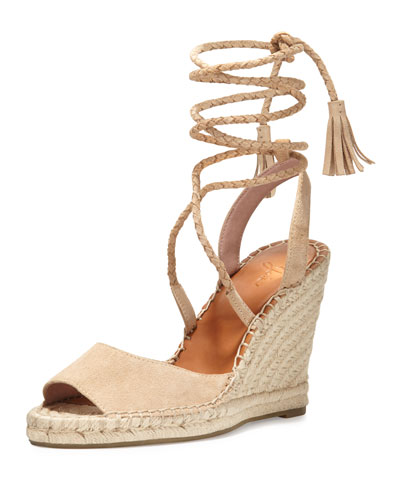 e2e55faa0df Joie Phyllis Suede Lace-Up Wedge Espadrille Sandal