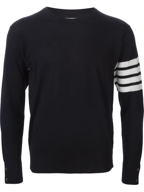 THOM BROWNE Crewneck Pullover With 4-Bar Stripe In Navy Merino, Blue