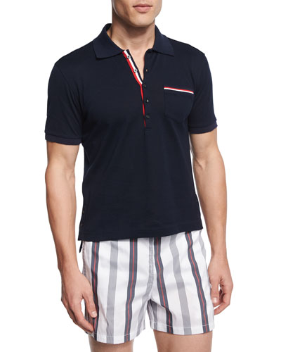 Slim-Fit Distressed Cotton-Jersey Polo Shirt, Blue
