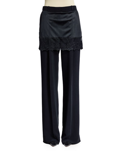 Lace Skirt Overlay Wide-Leg Pants in Black