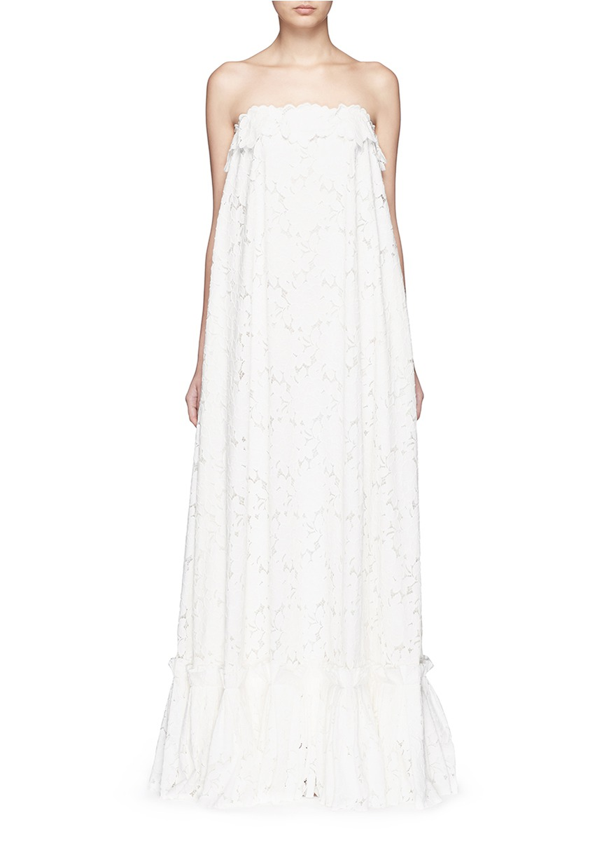 Guipure Lace Strapless Tier Wedding Gown, White