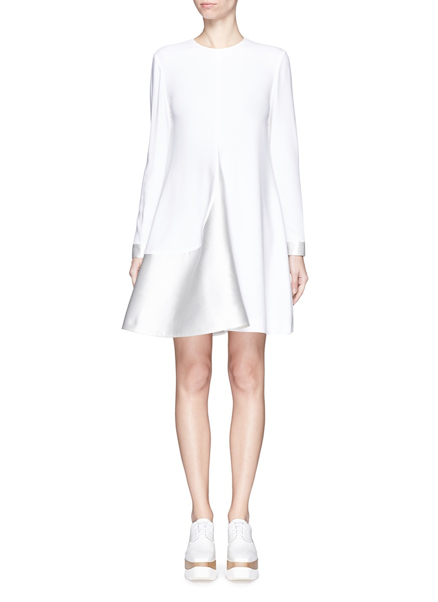 Stella Mccartney Woman Asymmetric Draped Crepe Mini Dress Black Size 42 Stella McCartney 8btQypI4cY