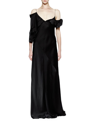 Asymmetric Ruffle-Shoulder Silk Gown, Black