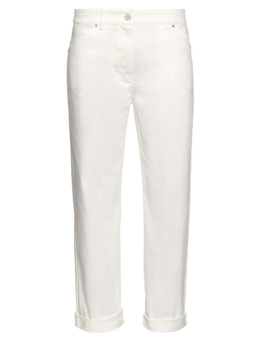 High-Rise Straight-Leg Jeans, White
