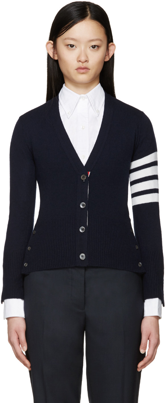 Intarsia Stripes Cashmere Cardigan, Navy in Blue
