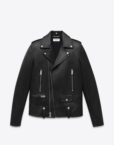 Lace-Up Motorcycle Leather Jacket in Black