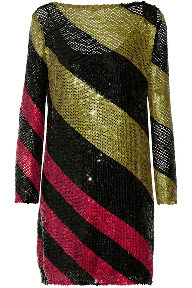 SONIA RYKIEL Sequined Striped Knitted Mini Dress in Black