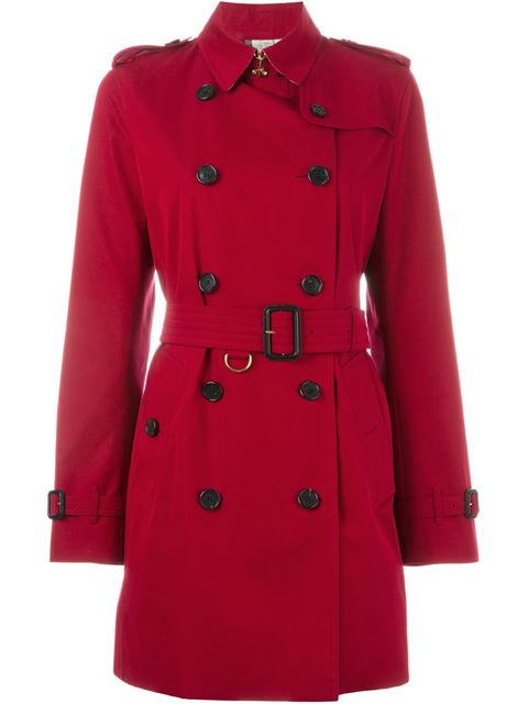 Sandringham Leather Trimmed Trench Coat, Red, Uk 6 in Parade Red