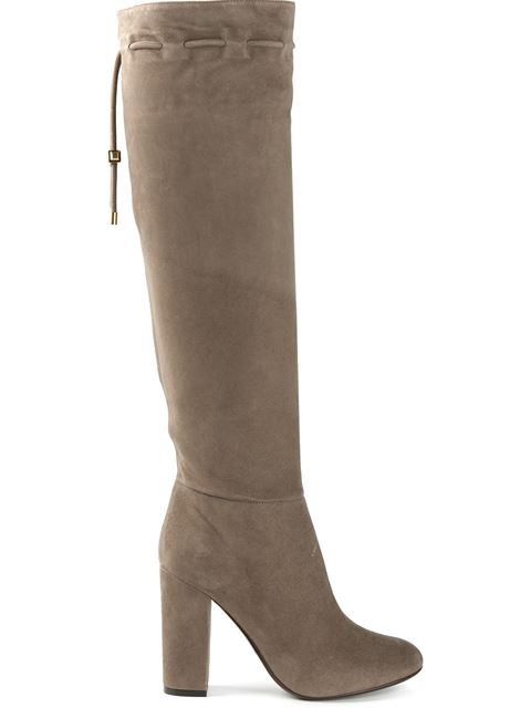 LANVIN Knee High Suede Boots In Mastic