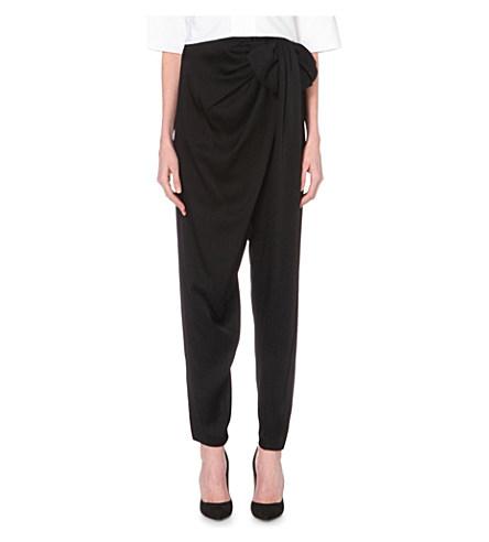 LANVIN Satin-Stripe Slim-Leg Wool Trousers, Black