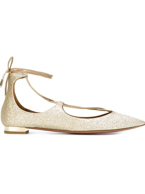 Woman Christy Glittered Leather Point-Toe Flats Gold in Metallic