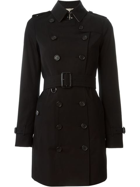 Black Cotton Twill 'Kensington' Short Trench Coat'