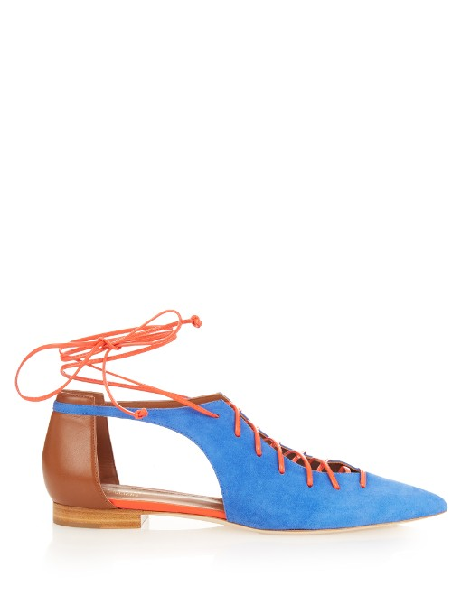 MALONE SOULIERS Montana Lace-Up Suede Point-Toe Flats in Cobalt-Blue