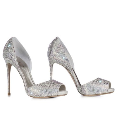 Peep Toe Pump In Burma, Eclipse Laminate Suede With Crystals H.115 Mm in Eclissi