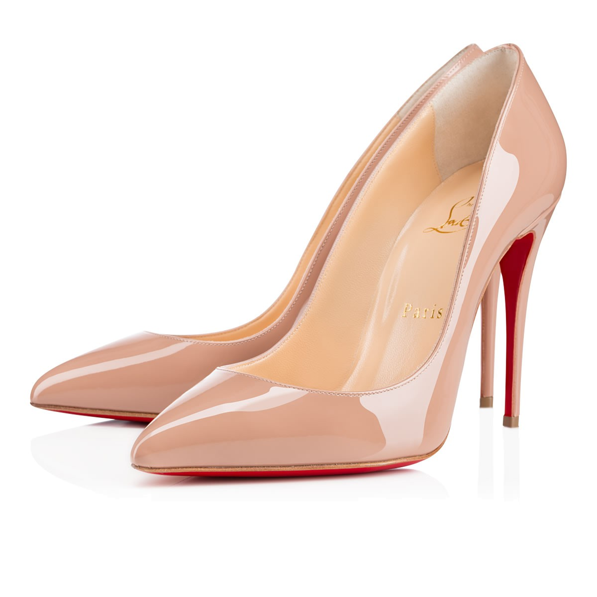 Pigalle Follies Patent Leather Pumps - Nude Size 9.5 in Beige